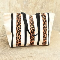 Leopard Striped Canvas Tote