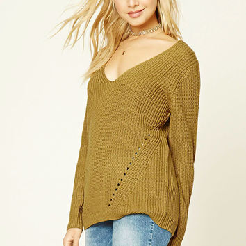 Ribbed Knit V-Neck Top