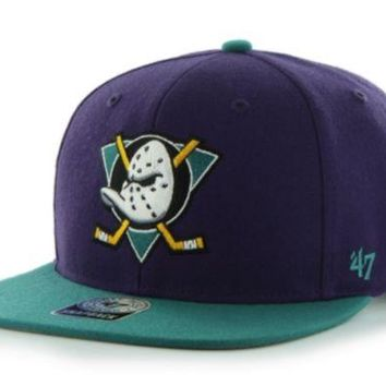ONETOW Forty Seven Brand Anaheim Ducks Sure Shot 2-Tone Snapback In Purple