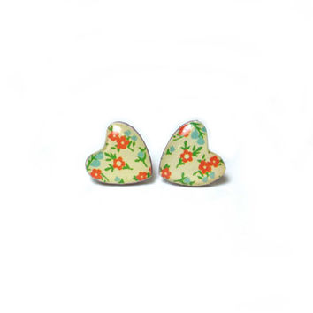 Floral Heart Shaped Earrings - Polymer Clay and Resin Jewelry - Heart Studs