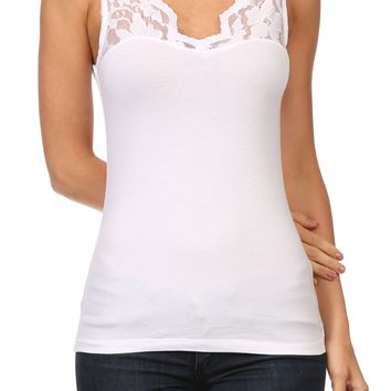 Womens Casual V Neck Floral Lace Cotton Sleeveless Tank Top