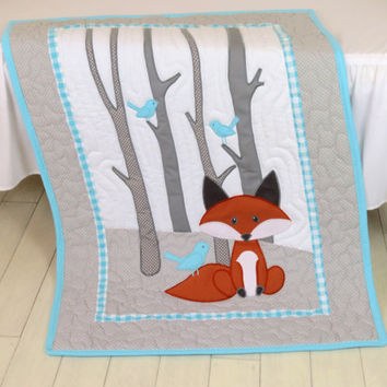 Fox Blanket, Fox Nursery Quilt, Baby Boy Quilt, Boy Crib Bedding, Forest Blanket, Aqua Gray Blanket, Custom Made