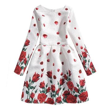 Girls Long Sleeve Dress Girls Dresses Autumn 2016 Children Rose Printed Dress Kids Retro Costume Teenage Girls Clothing Vestidos