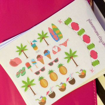 Summer Stickers, Filofax Stickers, Erin Condren Stickers, Hawaii Stickers, ECLP Stickers, Beach Stickers