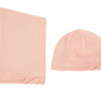 Baby Girls Soft Pink Hat and Scarf (Gift Set)