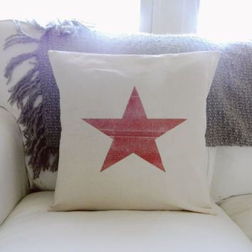 Red Patriotic Star 16 x 16 Pillow Cover, Military, patriotic, present, houswarming gift, 4th of July, America