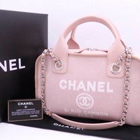 Auth CHANEL Deauville Bowling 2-way Shoulder Handbag Light Pink Canvas - e31551