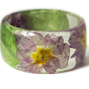 Real Flower Jewelry-  Purple Bangle- Pink Flower Jewelry- Resin Jewelry- Flower Bangle- Purple Resin Bracelet