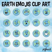 Earth Clip Art | Earth Day Emojis, Emoticons, Facial Expressions, Emotions