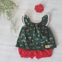 Baby girl Christmas set, green baby top and red bloomer