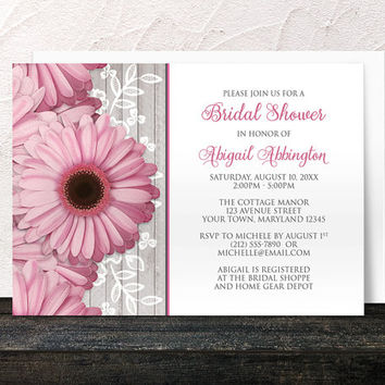Pink Daisy Bridal Shower Invitations - Floral Southern Country Gray Wood with Pink and White - Spring or Summer - Printed Invitations