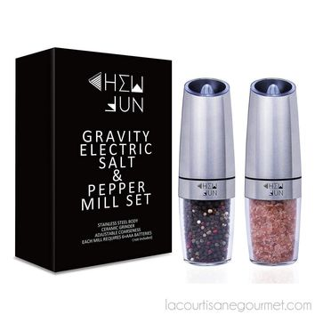 Chew Fun - Gravity Electric Pepper Or Salt Grinder Mill - Stainless Steel - Set Of 2