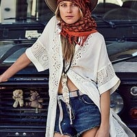 Free People Womens Swing Your Eyelet Round Buttondown
