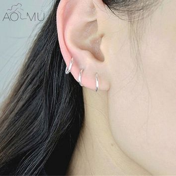 AOMU Circle Piercing Nombril Body Jewelry Nose Hoop Rook Helix Lip Ear Eyebrow Cartilage Silver Color Round Hoop Earrings