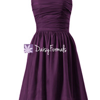 Off-shoulder Bridesmaid Dress Byzantium Knee Length Prom Dress Party Dress (BM4080)