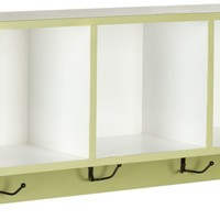 Alice Wall Shelf With Storage Compartments Split Pea/White