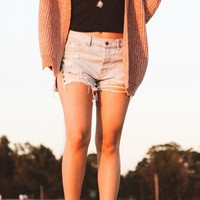 Want You Back Light Denim Side Slit Shorts