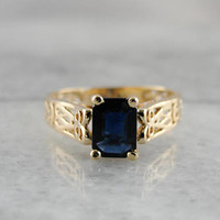 Vintage Sapphire Solitaire Ring, Geometric Filigree Ring, Deep Blue Sapphire Ring, Yellow Gold Ring