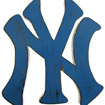 New York Yankees Logo Sport Sign Sport Teams 2 Colors  Pine Wood Sign Wall Decor Rustic Americana  Wall Decor Wooden Wall Art