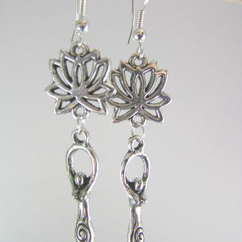 Silver Goddess Lotus Flower Earrings on .925 Ear Wires  ~ Earth Element Mystical Yoga Jewelry Fertility Earrings