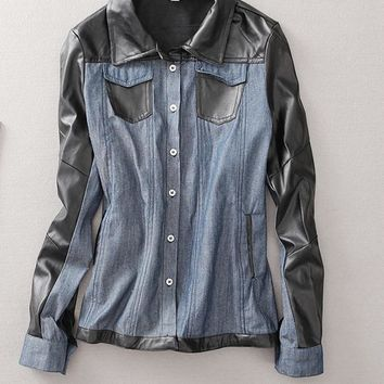 Spring new women leather stitching small lapel long-sleeved denim shirt fashion wild temperament