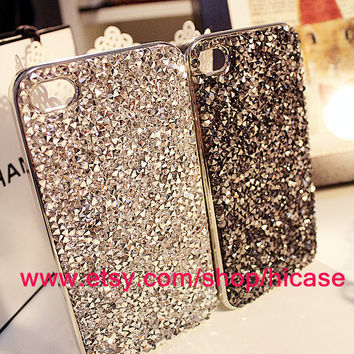 Handcrafted rhinestone iphone 5 case iphone 4 case iphone 4s case crystal iphone cover