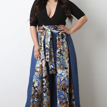 Denim Floral Panel High Rise Parachute Palazzo Pants