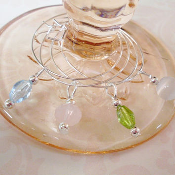 Minimalist Gemstone and Glass Wine Charms / Stemware Charms Set in 4 Pastel Colors - S A L E