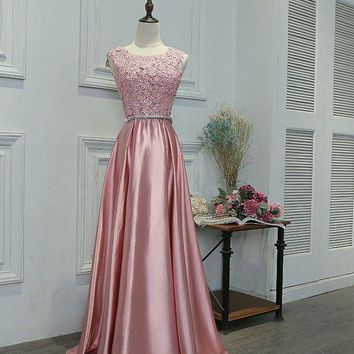 Pink Evening Dresses Long Prom Gowns with Lace Applique Bow A-line Backless