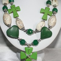 Green Agate Cowgirl Statement Necklace, Green Cross White Turquoise Multi-Strand Christian Necklace
