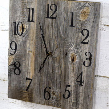 Rustic Barn Wood Wall Clock, Reclaimed Wood Clock, Large Wall Clock, 5th Year Anniversary