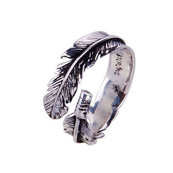 Feathered Pinky Ring Tiny Jewelry Fashion .925 Thai Silver High Quality