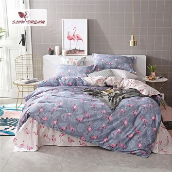 SlowDream Pink Flamingos Bedding Set Comforter Bedspread Duvet Cover Double Bed Sheets Linens Twin Queen King Adult Bedclothes