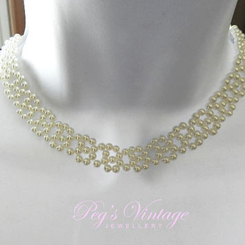 VINTAGE Necklace/Choker, White Vintage Small Faux Pearl Wedding Choker, Weaved Bead Bridal Necklace White Collar/Choker, Wedding Pearls,
