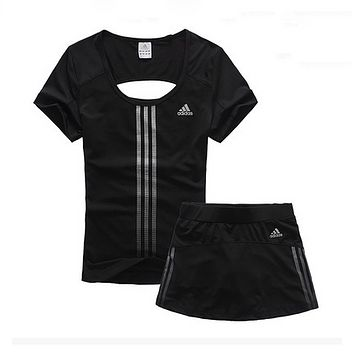 Adidas Woman Gym Sport Yoga Embroidery Top Cami Shorts Set Two-Piece Sportswear