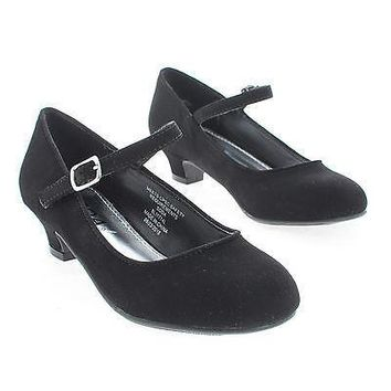 SolarIIS Black By Soda, Children Girls Round Toe Mary Jane Heel Pumps
