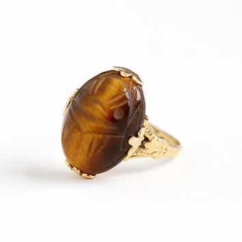 Vintage 10k Rosy Gold Filled Carved Tiger's Eye Scarab Ring - Retro Size 6 1/2 Brown Beetle Gem Egyptian Revival C&C Clark Coombs Jewelry