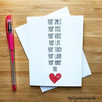 Your You Sweet Romantic Funny Anniversary Card Valentines Day Card FREE SHIPPING