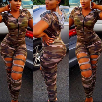 Army Ripped Jumpsuit with Hood
