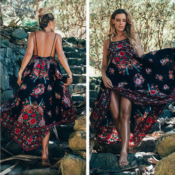 Fashion Retro Peacock Print Backless Sleeveless Strap Maxi Dress