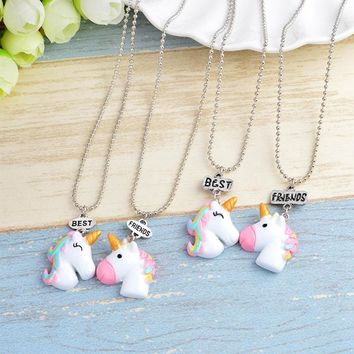 2 Pcs/Set Hot Sale Cute Unicorn Pendant Best Friends Necklace for Kids Girls BFF Friendship Necklace Jewelry Ornaments