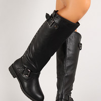 Studded Rear Zipper Engineer Knee High Boot
