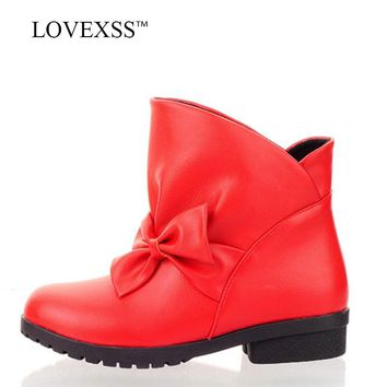 LOVEXSS Woman Autumn Winter Butterfly Knot  Ankle Boots Plus Size 41 43 Red High Heeled Shoes Black Round Toe Martin Boots 2018