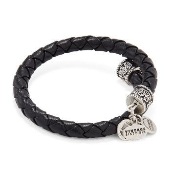 Ebony Braided Leather Wrap