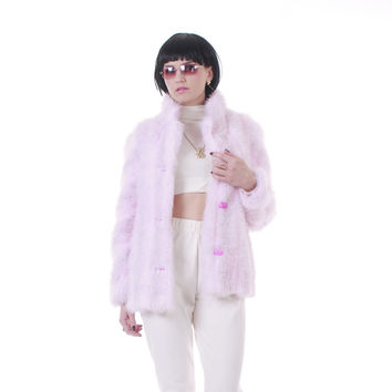 90s Vintage Pastel Pink Faux Fur Coat Shaggy Club Kid Candy Raver Kawaii Winter Jacket Made in the USA Women Size Small