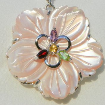 Mother of Pearl Multi Gemstone Jewelry Enhancer Pendant Necklace, Pink