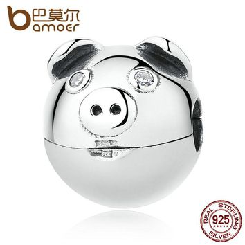 100% 925 Sterling Silver Lovely Animal Pig with Ears & Nose Clips Charms fit Bracelets Women Fashion Jewelry SCC106