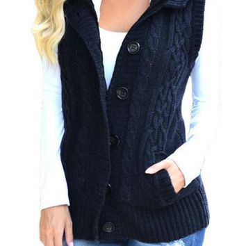 Chic Women Navy Cable Knit Hooded Sweater Vest