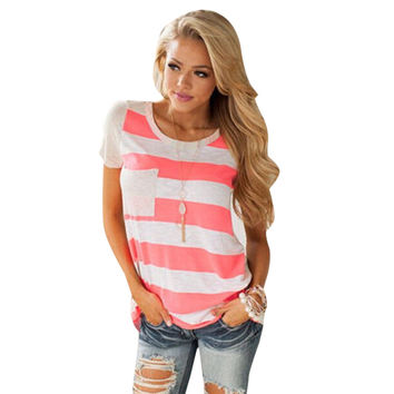 Casual Womens Striped Pocket T-Shirt Fashion Round-Neck Short Sleeve Loose Cotton Blended T-Shirt Tops Tee Crop Top SN9