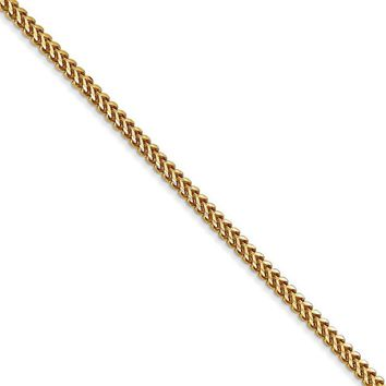 1.5mm 14k Yellow Gold Solid Franco Chain Necklace